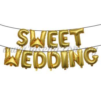 17inch Sweet Wedding Foil Balloon Set *Gold (FB-WD-S1701G)
