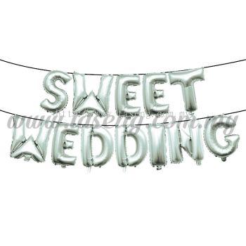 17inch Sweet Wedding Foil Balloon Set *Silver (FB-WD-S1701S)