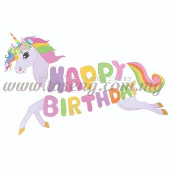 Banner Happy Birthday - Unicorn (P-BN-7633)