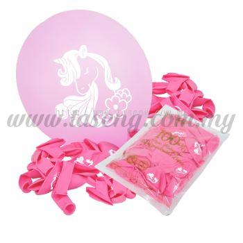 12inch Unicorn 1 Side Printed Balloons 50pcs - Pink (B-SR12-UN50-P)