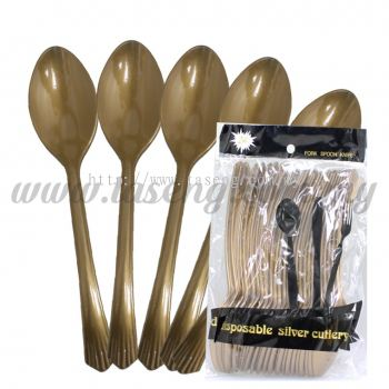 Plastic Gold Spoon 1pack *24pcs (P-PS-GO)