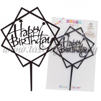 Cake Topper Happy Birthday Star - Black (CT-HB-A6BK)
