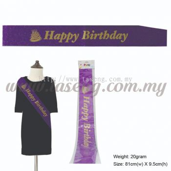 Happy Birthday Glitter Sash with Cake - Purple (P-AC-SAHBCKG-PP)