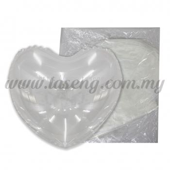 24inch Bubble Balloons Heart Shape - 10pcs (B-24LBB-10)
