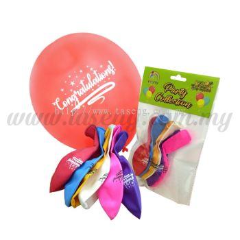 "12 inch 1Side Printed ""Congratulation"" Balloon 6pcs (B-CON-6)"