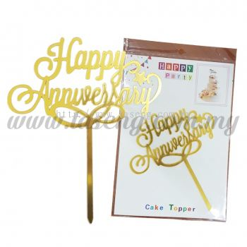 Cake Topper Happy Anniversary - Gold (CT-HA-A1G)