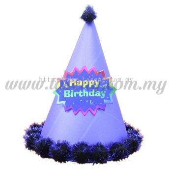 24cm Hat Happy Birthday (Glitter) - Blue (HAT-HB1-B)