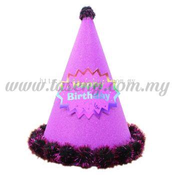24cm Hat Happy Birthday (Glitter) - Magenta (HAT-HB1-MA)