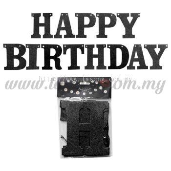 Banner Happy Birthday (Glitter) - Black (P-BN-XH8288-1-BK)