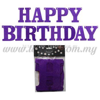 Banner Happy Birthday (Glitter) - Dark Purple (P-BN-XH8288-1-DPP)