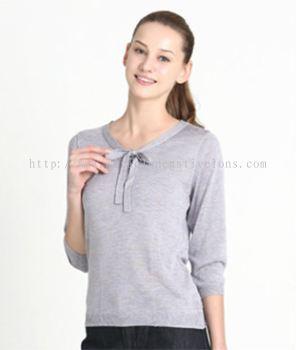 OC009 - Knit 3/4 Sleeve Bowtie Sweater