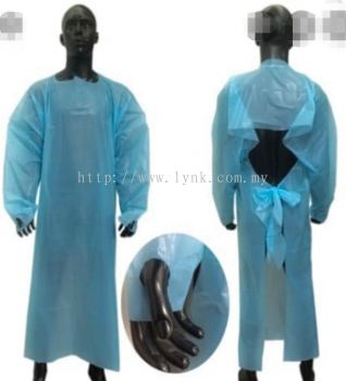 DISPOSABLE PLASTIC PE GOWN (LONG SLEEVE)