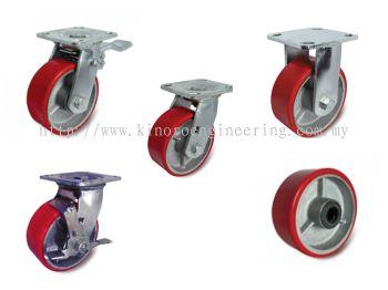 Castor Wheel Cast Iron Centre Polyurethane (PU)