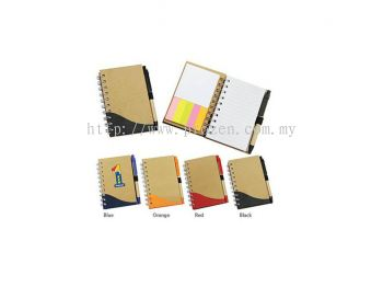 E06 Small Eco Notepad with Restick Notes (with Pen)