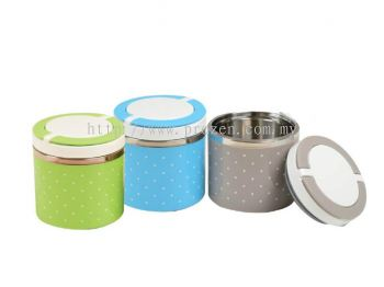 Polka Dot Round Stainless Steel Lunch Jar(1 tier)