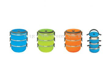 Round Stainless steel Lunch Box( 3 tiers)