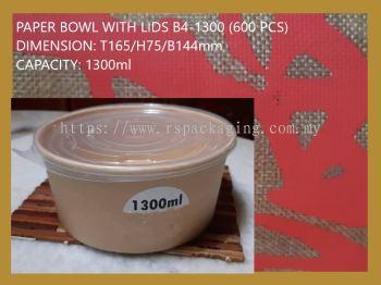 B4-1300 PAPER BOWL WITH LIDS (600 PCS)