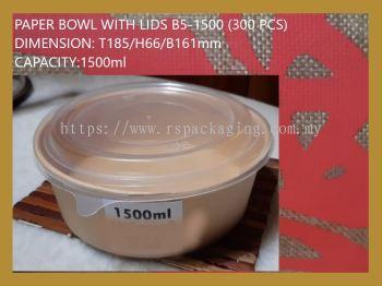 PAPER BOWL WITH LIDS B5-1500 (300 PCS)