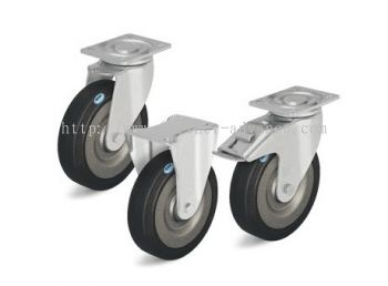Pressed Steel Castors, Medium Duty Brackets, Elastic Solid Rubber Tyre