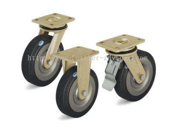 Welded Steel Heavy Duty Castors, Strong Swivel Head, Elastic Solid Rubber Tyre