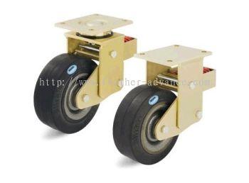 Welded Steel Heavy Duty Castors with Steel Spring, Elastic Solid Rubber Tyre