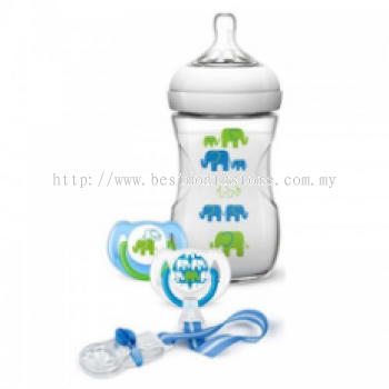 AVENT ELEPHANT GIFT SET 260ML BOTTLE +1M SOOTHER +CLIP