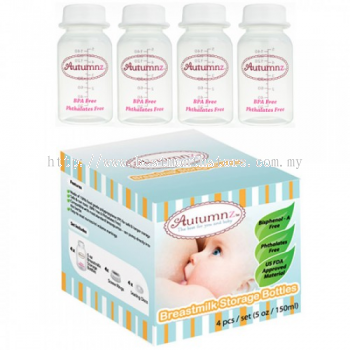 AUTUMNZ BREASTMILK STORAGE BOTTLES-4 BOTTLES-CLEAR