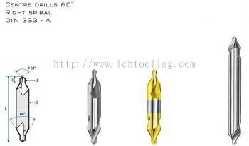 Centre Drill 60 Degree Right Spiral DIN 333- A