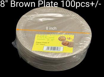 "8"" Brown Plate 100pcs+/-"