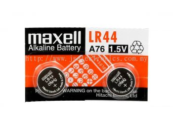 MAXELL, SIZE LR44, ALKALINE BATTERY CELL, 2 PACK, 1.5VOLTS