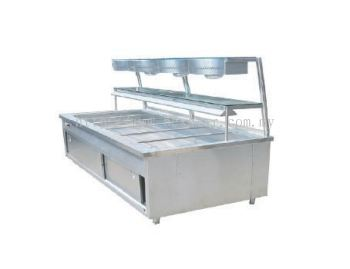 Bain Marie 2 Tier Special Glass Shelf & Curve Lighting Box & Infrared Bulb