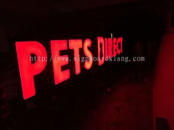 Pet Direct 3D led conceal box up lettering at Jalan kapar
