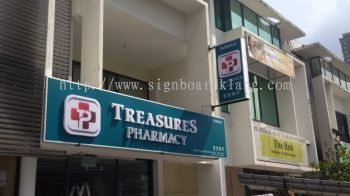 Treasures Pharmacy 3D LED signage in kl ( LED conceal 3D boxup in bukit jalil kl)