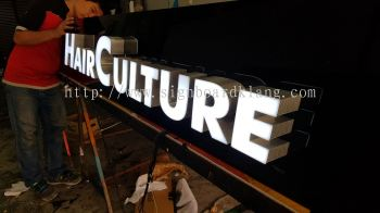 Hair Culture 3D LED Conceal box up lettering signagew at sugai wang Kl
