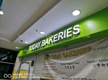 Today Bakeries 3D LED channel box up frontlit lettering Signage at putra height Giant Mall