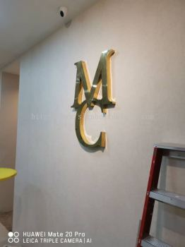 Mc stainless steel Glod 3D box up lettering Signage design , 3D signboard design at damansara Kuala Lumpur