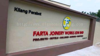 Farta joinery works sdn bhd EG 3D box up lettering signage signboard at jalan kapar klang