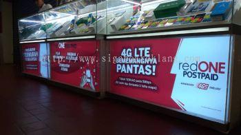 red one shopping mall booth singage signboard at klang kuala lumpur puchong