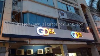 gdex aluminium ceiling trism casing 3d led frontlit lettering signage signboard at klang kuala lumpur shah alam puchong