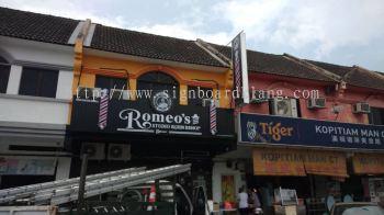 romeos barbershop hairshop aluminium ceiling trism casing 3d led frontlit lettering logo signage signbaord at klang kuala lumpur shah alam puchong kepong subang damansara