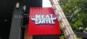 meat cartel restaurant cafe aluminum ceiliny trism casing 3d led frontlit lettering logo signage signboard at klang kuala lumpur shah alam puchong kepong damansara subang kota kemuning