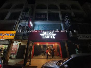 meat cartel aluminum trism ceiling casing 3d aluminium box up fronlit channel lettering logo signage signboard at cheras klang puchong damansara subang jaya kepong