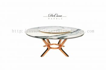 Round Marble Dining Table - Panda White Marble
