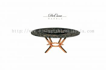 Round Marble Dining Table - Portoro Gold Marble