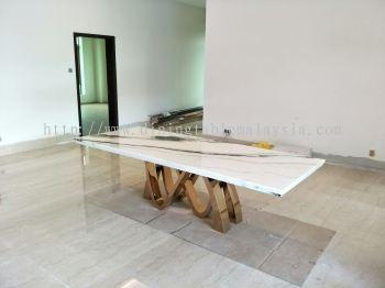 Moderb White Marble Dining Table - Panda White Marble