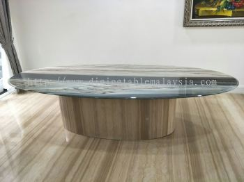 Oval Shape Grey Marble Dining Table