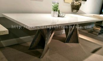 White Marble Dining Table - Sivec White Marble With Modern Stand Design