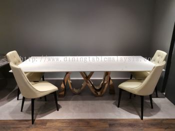 10 Seater White Marble Dining Table