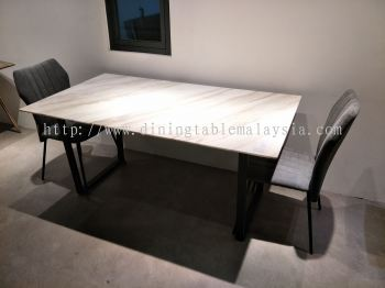 4 Seater - White Marble Dining Table Set With Chairs