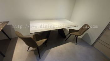 6 Seater Grey Marble Dining Table
